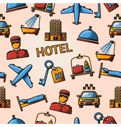 Seamless hotel handdrawn pattern vector image vector image