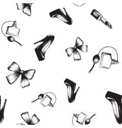 seamless pattern shoe bow perfume vector image