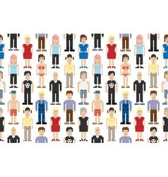 Set of pixel people vector image