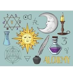 Set of trendy alchemy symbols vector