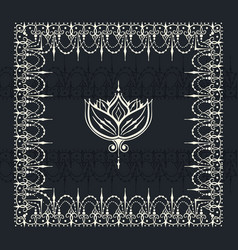 sketch of border and endless stripes with lotus vector image