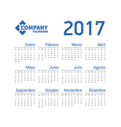 Spanish horizontal calendar 2017 vector