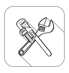 Square shape with silhouette set wrench vector