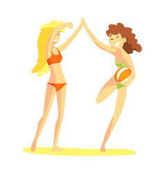 to girl in bikinis giving high five part of vector image vector image