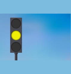 Traffic lights with yellow light on vector
