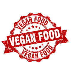 vegan food stamp sign seal vector image vector image