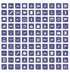 100 combat vehicles icons set grunge sapphire vector
