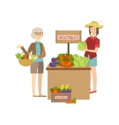 Farmer vegetables stand on the outdoors market vector