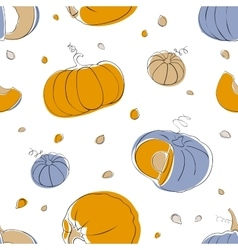 Pumpkin seamless pattern in light pastel colors vector