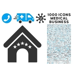 Hotel building icon with 1000 medical business vector