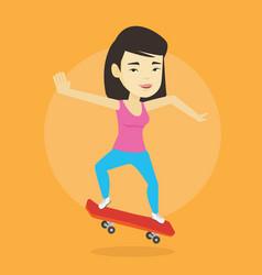 Woman riding skateboard vector