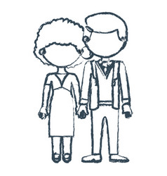 Blurred blue contour faceless couple curly woman vector