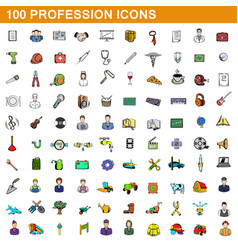 100 profession icons set cartoon style vector image