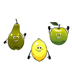 Green pear apple and yellow lemon fruits vector