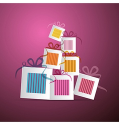 Colorful Abstract Paper Gift Boxes on Violet vector image