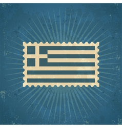 Retro greece flag postage stamp vector