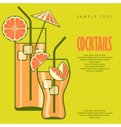 Cocktails in glasses on green vector