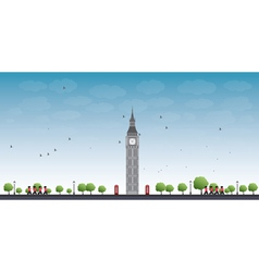 Big ben tower in london and blue sky vector