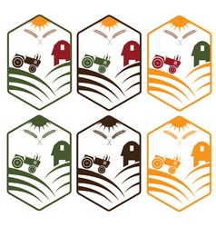Farm with tractor emblems set vector
