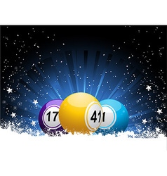 Winter bingo balls and snow vector