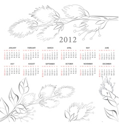 template for calendar 2012 with flowers vector image