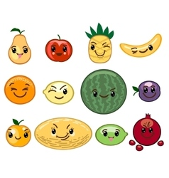 Fruit kawaii characters vector