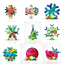 Set of snowflake icons with text labels christmas vector