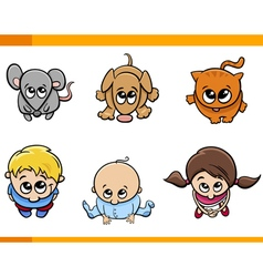 Kids and pets cartoon set vector