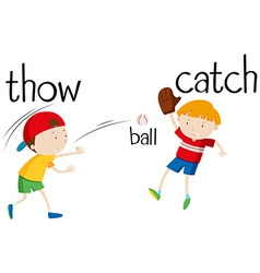 Boys throwing and catching ball vector image