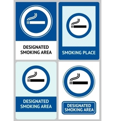 Label set smoking area vector