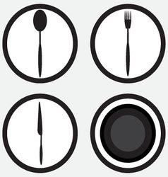 Set icon cutlery black white vector image