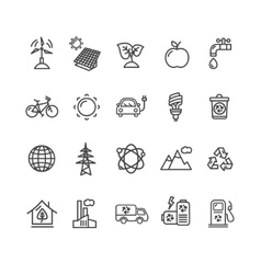 Ecology outline icon set vector