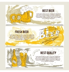 Beer banners or website header set vector
