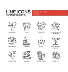 Human psychological problems- line design icons vector