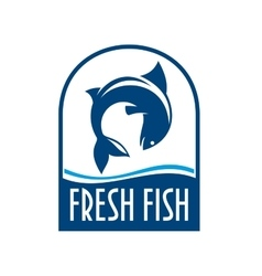 Fresh fish retro blue label vector image