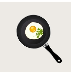 Scrambled eggs in a pan vector