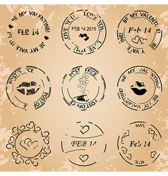 Black post stamps for valentine day - grunge vector
