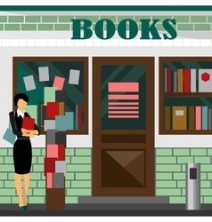 Bookstore mall books shop building vector