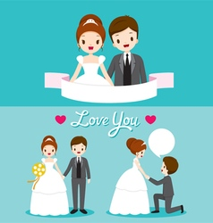 Bride and groom in wedding clothing set vector