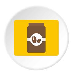 Brown coffee jar icon circle vector