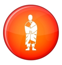 Buddhist monk icon flat style vector image