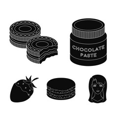 Chocolate pasta biscuit strawberry in chocolate vector