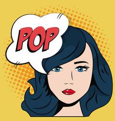comic blue hair girl bubble speech pop art vector image