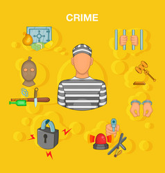 Crime accident concept cartoon style vector