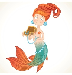 Cute mermaid holding a chest with pearls vector image