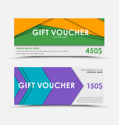 Set of gift vouchers material design royalty free vector design of gift vouchers in style of material vector image vector image negle Gallery