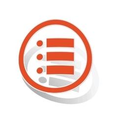 Dotted list sign sticker orange vector
