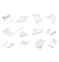 Flying blank paper sheets with curved corner on vector