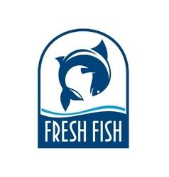Fresh fish retro blue label vector