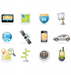gps and navigation icon set vector image
